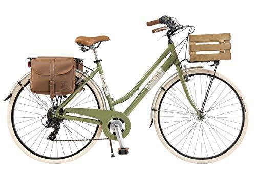 Via Veneto by Canellini Damen Citybike CTB Vintage Stil Rad Cityrad Fahrrader Bike Aluminium mit Korb Kassette (Grun, 50)