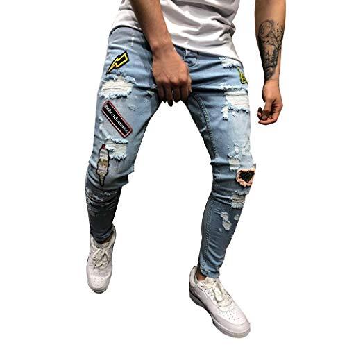 QUICKLYLy Pantalones Vaqueros Hombre Rotos Pitillo Elasticos Skinny Ajustados Trekking Casual Chandal Montaña Moto Slim Fit Modernos Chaqueta,Mezclilla Agujero Recto Desgastados(Azul,S)