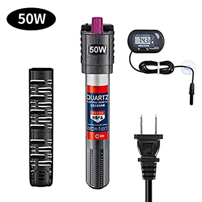 Sukeen Aquarium Heater with Extra Thermometer,50W Fish Tank Heater Adjustable Temperature for Auto Thermostat,Shatter-Proof and Blast-Proof