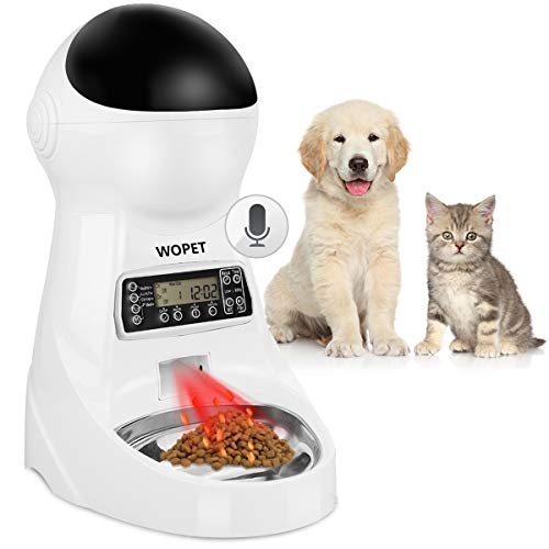 WOPET Pet Feeder Stainless Steel Bowl,Automatic Dog and Cat Feeder Food Dispenser