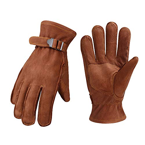 OLSON DEEPAK Cowhide Leather Shooting Gloves for Industrial Production/Riding/Driving/Gardening/Farm Hunting Gloves  Extremely Soft and SweatAbsorbentRiding Large Brown