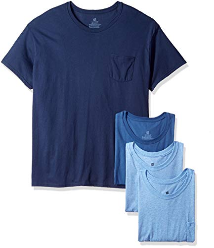Hanes Men's FreshIQ Odor Control 4-Pack Pocket Crew T-Shirt, Blue Assorted, X Large