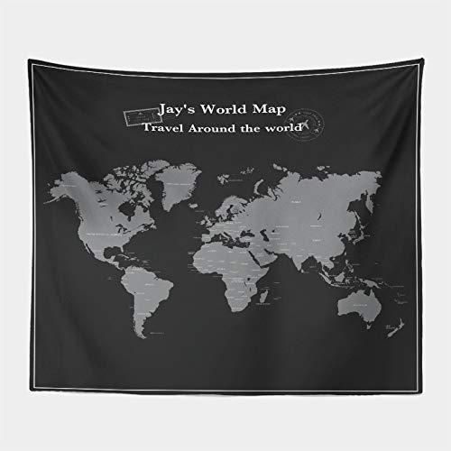 Tapiz Trippy Retro Mapa del Mundo Tapiz para colgar en la pared Tapiz Tapiz de Pared Arte Playa Manta Dormitorio Estudio Tap