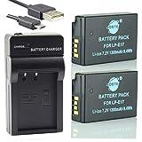 DSTE LP-E17 Li-Ion Batería (2 Paquetes) Traje y Cargador Micro USB Compatible con Canon EOS M3 750D 760D 8000D 200D 250D Kiss X8i X10 Rebel T6i T6s SL3