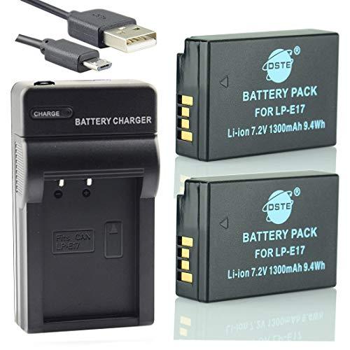 DSTE LP-E17 Li-Ionen Batterie (2-Pack) und Micro USB Ladegerät Anzug kompatibel mit Canon EOS M3 250D 750D 760D 8000D 200D Kiss X8i X10 Rebel T6i T6s SL3