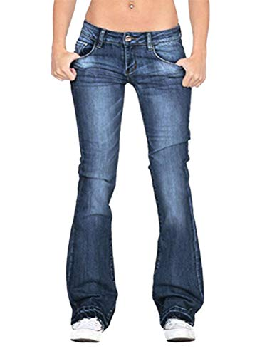 Minetom Skinny Jeans Donna Pantaloni Legging Eleganti Elastico Denim Lunghi Pantaloni A Zampa Moda Jeans Svasati A Blu Scuro 31W/41L