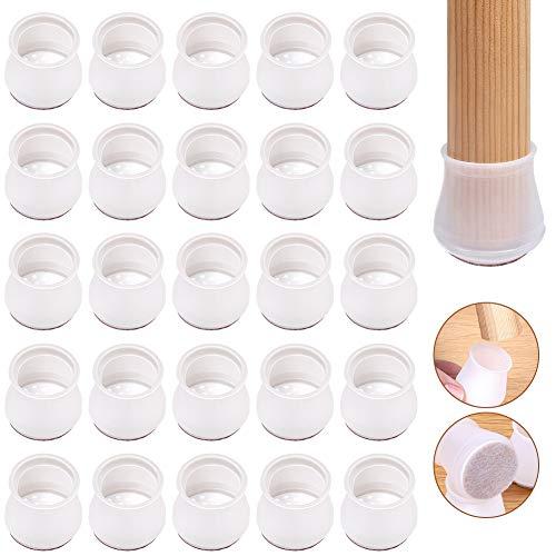 Swonuk Protezioni per gambe per sedie, 36 pezzi Coprigambe per mobili in silicone da 1,25 pollici con supporto in feltro, per tappi per gambe rotonde per evitare graffi e rumori