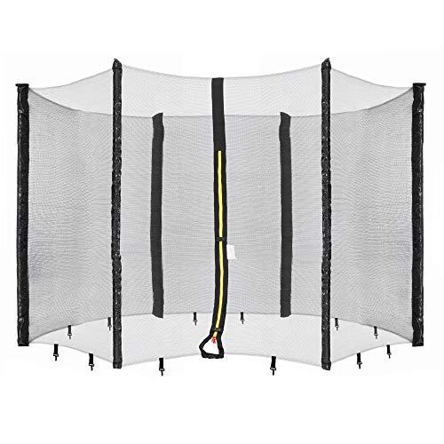 Arebos Sicherheitsnetz Trampolin   Ø 490 cm   6 Stangen   UV-beständig, wetterfest, engmaschig, verschließbar