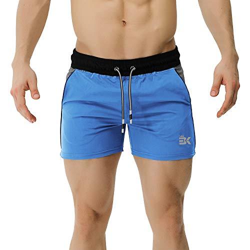 BROKIG Herren-Fitness-Shorts, 12,7 cm, elastischer Bund mit Taschen Gr. L, blau