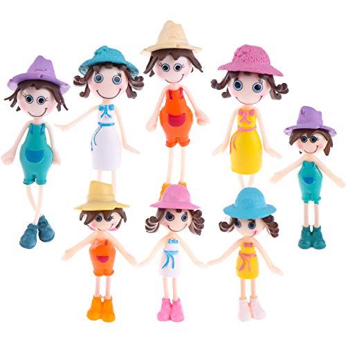 8 Stücke Kunsttoffe Puppenhaus Puppen,Mädchen Puppen Set Mini Menschen Figuren für Kinder Spaß Rollenspiele Puppenhaus Zubehör