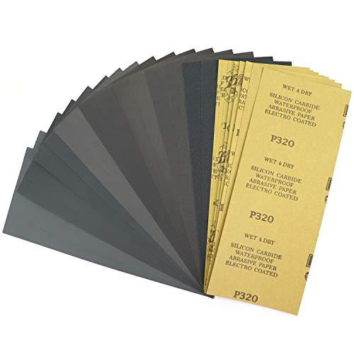 紙やすり サンドペーパー セット 耐水ペーパー 小さいサイズ 紙ヤスリ 磨く 24枚入り (320#400#600#800#1000#1200#1500#2000# 8種類 各3枚) 金属・プラスチック類の仕上研磨、木工作業、ホビー・DIYに 、からPOL