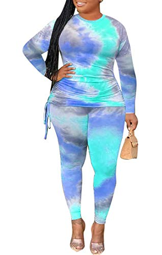 Plus Size Two Piece Outfit Long Sleeve Tie Dye Shirt Top Bodycon Pant Jogging Set Tracksuits Sportswear Blue XL