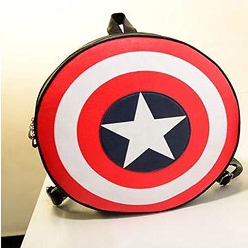 Towel Rings Captain America Couple Backpack College Wind Zaino per personalità da Uomo E Donna Zaino Rotondo Pentagram Borsa Casual Zaino Marvel