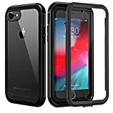 seacosmo Coque iPhone 7, Coque iPhone 8, Antichoc Housse [avec Protège-écran] Full Body Protection Etui Transparent Integrale Bumper Simple Case Coque pour iPhone 7/8 4.7 Pouces -Noir