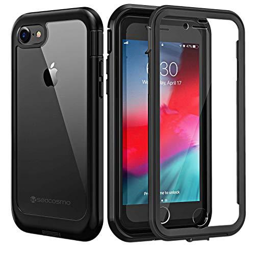 seacosmo Coque iPhone Se 2020, Coque iPhone 7 Antichoc, Coque iPhone 8 avec Protège-écran Housse Full Body Protection Etui Transparent Integrale Bumper Simple Case Coque pour iPhone SE/7/8 -Noir