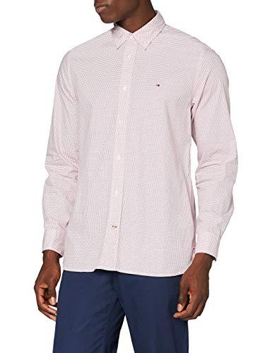 Tommy Hilfiger Micro Bandana Print Shirt Camisa, Red, M para Hombre