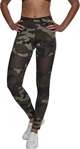Urban Classics Damen Ladies Tech Mesh Leggings, woodcamo/blk, 3XL
