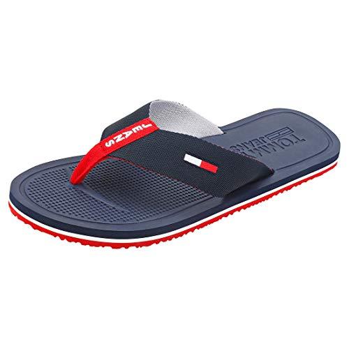 Tommy Hilfiger Comfort Footbed Beach Sandal, Chanclas Hombre, Rojo (RWB 0kp), 44 EU