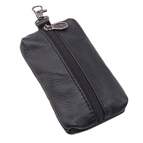 Auony Unisex Genuine Leather Key Case Wallet Pouch Bag Keychain Holder with Key Ring & Zipper (Black)
