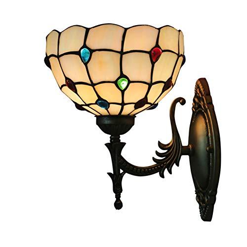 TINE Tiffany Wall Sponces Retro Style Pared de vidrieras led Luz Amarilla cálida con Gemas Multicolores. para la Escalera de Dormitorio.