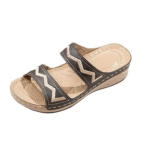 Damen Sandalen Keilsandalen Bestickte Schuhe Slingback Peep Toe Slip On Hausschuhe Slipper Bequeme Wedge Beach Strandsandale Sommer Outdoor Sandals Freizeitschuhe(3-Schwarz/Black,41)