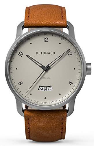DETOMASO VIAGGIO Automatic Ivory Herren-Armbanduhr Analog Quarz Italienisches Lederarmband Braun