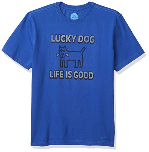 Life Is Good Lucky Dog Crusher T-Shirt pour Homme Bleu Cobalt Taille M