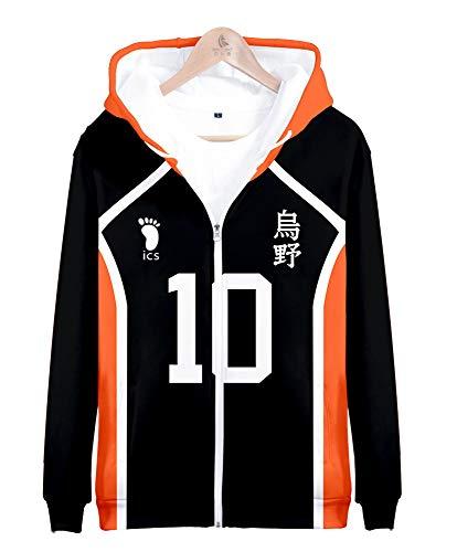 QYIFIRST Chaqueta de entretiempo unisex Anime con impresión 3D Karasuno High School Hinata Shouyou n.º 10 con capucha y bolsillos para niños, color naranja/negro, 140 (pecho de 86 cm)