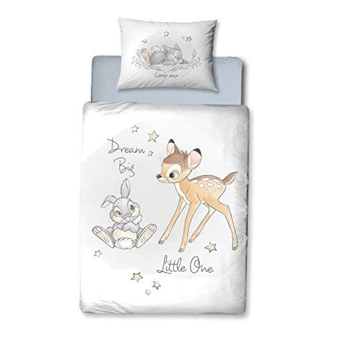 Bambi Babybettwäsche Flanell/Biber ☆ 1 Kissenbezug 40x60 + 1 Bettbezug 100x135 cm ☆ Kinderbettwäsche Disneys Bambi & Klopfer