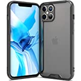 CoverON Slim Cover for Apple iPhone 12 Pro Max Phone Case (6.7'), Crystal Clear Lightweight Hard Back - TPU Black Bumper