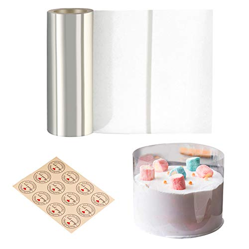 Cyimi Cake Collars 6 x 394inch, Acetate Rolls, Clear Cake Mousse Strips, Transparent Cake Rolls, Cake Acetate Sheets for Chocolate Mousse Baking Cake Decorating