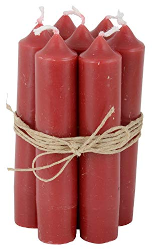 Ib Laursen - Stabkerzen Kurze Kerzen - Rot- Brenndauer: 4,5 Stunden - 6er Set