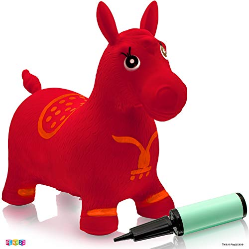 Horse Hopper RED - Inflatable Horse Bouncer Free Pump Included - Bouncy Horse Toys for Kids & Toddler Riding Horse Toy Great for Indoor and Outdoor Toys Play - Best Gift for Boys and Girls (RED)