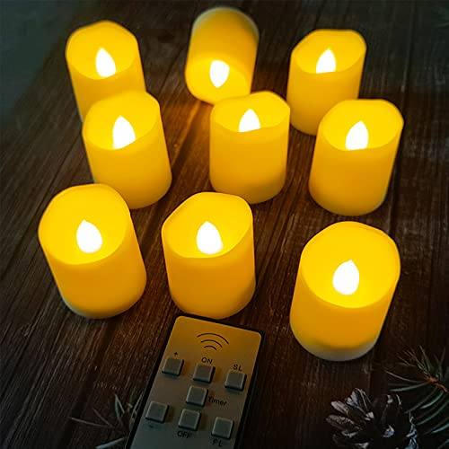 solawill Velas LED ,12Pcs Luces de Té Sin Llama Velas Eléctricas con Mando a Distancia y Temporizador Velas LED que Parpadean Amarillas Luz de té con Baterías para Bodas Cumpleaños Navidad Halloween