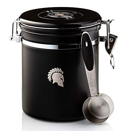 Barista Legends® Kaffeedose luftdicht 500g schwarz - Kaffeebohnen Behälter für den Aromaschutz Ihres Kaffees - Vorratsdose aus Edelstahl mit ewigem Kalender.