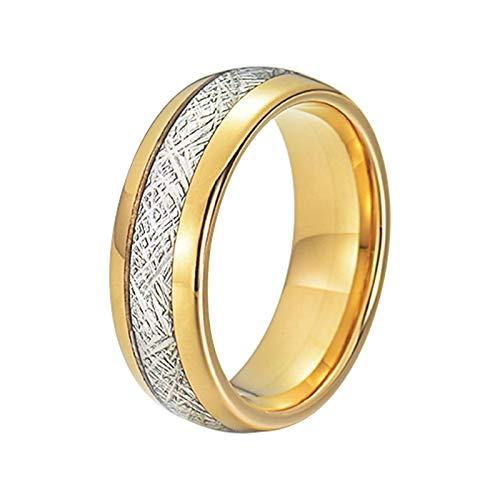 Aartoil 8mm Titanstahlringe für Herren Silber Meteorit Versprich Verlobungsring Personalisiert Gold Größe 62 (19.7)