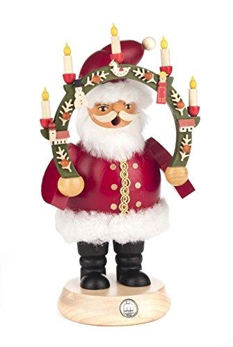 Räuchermann Weihnachtsmann mit Kerzenbogen von DREGENO SEIFFEN 20,5cm – Original erzgebirgische Handarbeit, stimmungsvolle Weihnachts-Dekoration