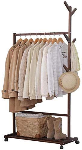 Percheros Sombrero  Perchero Estante de abrigo de riel de madera maciza, con soporte lateral de exhibición de gancho, soporte de abrigo de rama de árbol de hall, con patas de rueda de rollo, perchero