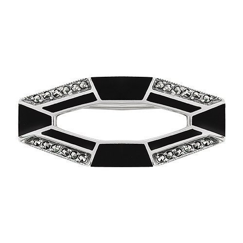 3.60ct Black Onyx & 0.36ct Marcasite 925 Sterling Silver Art Deco Brooch