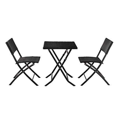 Dining Furniture; Outdoor Garden Folding Rattan Conversation Chairs Set-2 Chair & 1 Square Table; for Living Room Patio Pool Backyard; 3-Piece; Black
