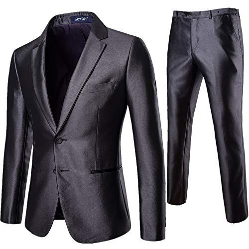 WYX Herren Dimagrisono 2-teiliges Brautkleid in 2 klassischen Knöpfen, grau, 3XL