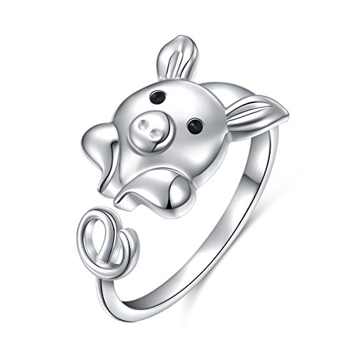 925 Sterling Silver Cute Pig Wrap Ring for Women Girls, Open Animal Ring Adjustable Size (Pig)