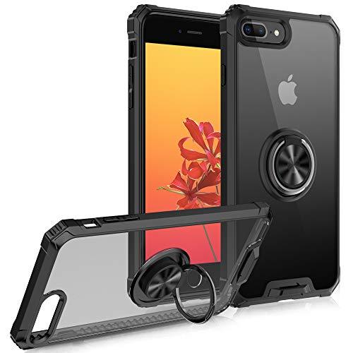 FayTun Cover Compatibile con iPhone 8 Plus /7 Plus,Custodia Trasparente iPhone 8 Plus /7 Plus TPU con 360° Anello Girevole Ring per Supporto Magnetico Auto,Antiurto AntiGraffio Protettiva Case,Nero