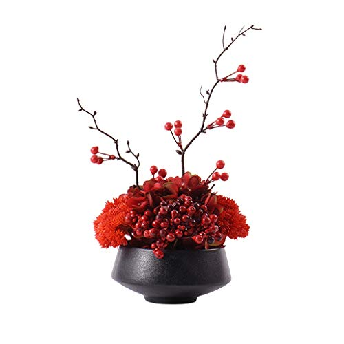 Artificial Flowers Chinese Style Decorative Flower Red Artificial Flower Ceramic Black Vase Interior Decoration Artificial Flower Dining Table Living Room Decoration Fake Flower Fake Flowers