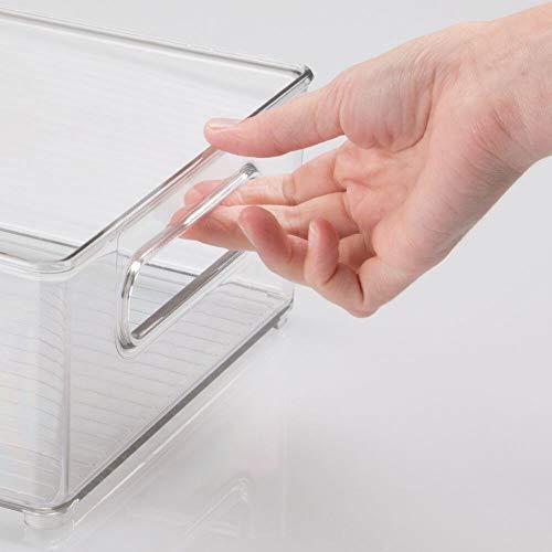 mDesign Refrigerator and Freezer Storage Organizer Bins for Kitchen, 4 pc Set - Clear