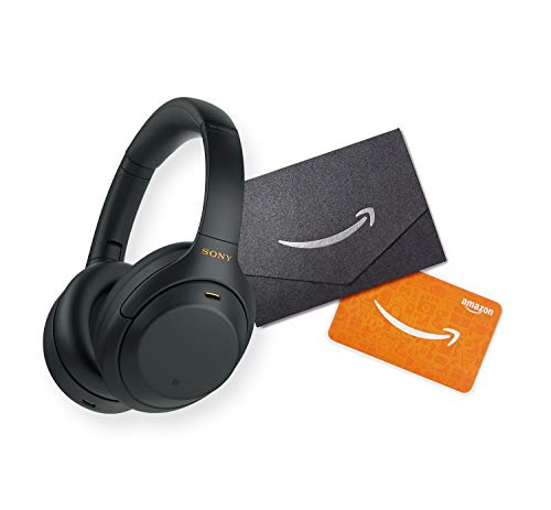 Sony WH-1000XM4 Wireless Industry Leading Noise Canceling Overhead Headphones with Mic for Phone-Call and Alexa Voice Control, Black with $25 Amazon Gift Card