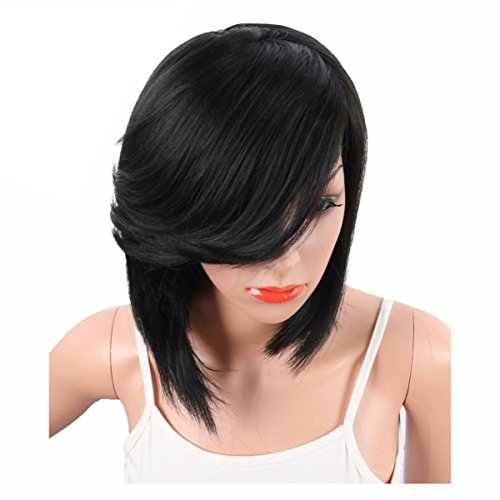 DEYSSNE Short Black Straight Side Parting Bob Synthetic Wigs With Bangs For Black Women Brazilian Hairstyle Natural Heat Resistant Hair
