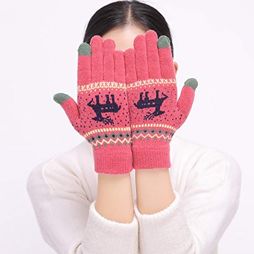 Women's Cute Elk Deer Snowflake Knitted Gloves Full Finger Winter Gloves Touch Screen Mittens Female Gloves Red