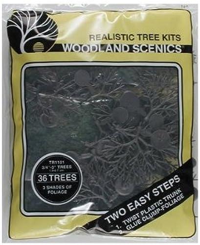 WOODLAND SCENICS TR1101 Tree Kits 3 4x3 (36) WOOU9101 by Woodland Scenics