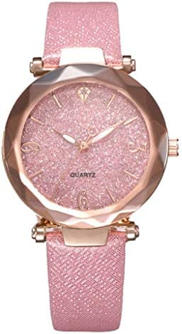 Evangelia YM Women Quartz Watch Fashion Frosted Starry Sky Dial Leather Belt Wristwatch for product image
